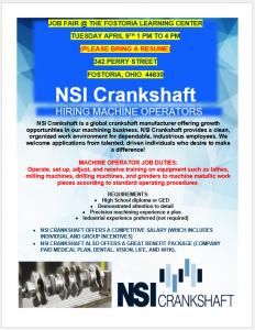 NSI Crankshaft Job Fair – Fostoria Learning Center